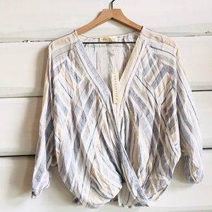 Vici lovestitch striped wrap top blouse